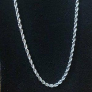 22 14K White Gold Finished Solid Rope